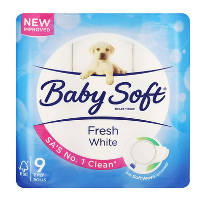 BABY SOFT® FRESH WHITE – Toilet Paper 2 Ply White – 9s